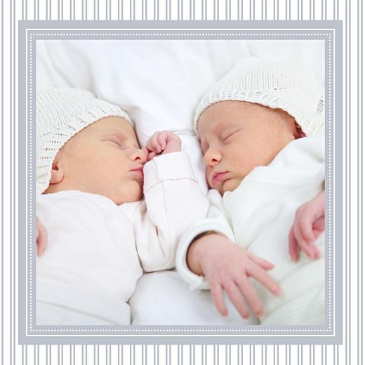Faire-part de naissance Rayures jumeaux (triptyque) gris - Page 3