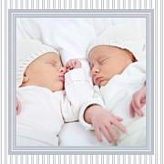 Faire-part de naissance Rayures jumeaux (triptyque) gris page 3
