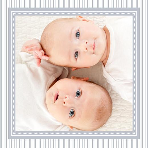 Faire-part de naissance Rayures jumeaux (triptyque) gris