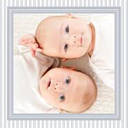 Faire-part de naissance Rayures jumeaux (triptyque) gris page 5