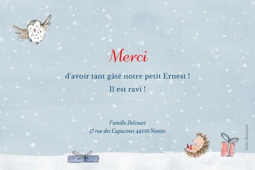 Carte de remerciement Petit conte d'hiver photo bleu - Page 2