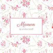 Faire-part de naissance Fleurs des champs (triptyque) rose page 1