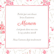 Faire-part de naissance Fleurs des champs (triptyque) rose page 2