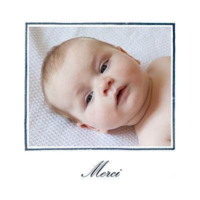 Carte de remerciement Mon petit lapin photo bleu nuit finition