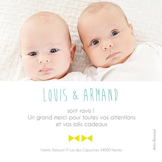Carte de remerciement Petit lovely twins photo boys blanc - Page 2