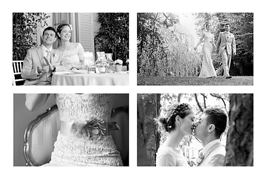 Carte de remerciement mariage Tout simplement 4 photos blanc
