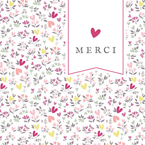 Carte de remerciement Petit liberty cœur prune