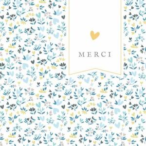 Carte de remerciement Petit liberty cœur photo bleu