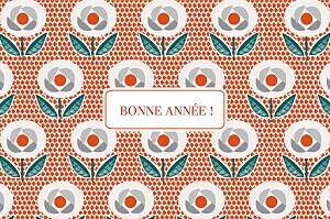 Carte de voeux orange fleurs de noël rouge
