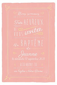 Faire-part de baptême moderne happy day corail