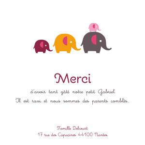 Carte de remerciement 4 petits éléphants gris & rose