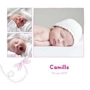 Faire-part de naissance Libellule 5 photos 4 pages rose