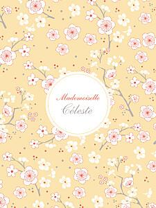 Affiche jaune cerisiers en fleurs jaune