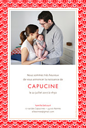 Faire-part de naissance Pattern portrait 2 photo rouge