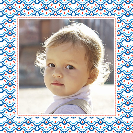 Carte d'anniversaire Pattern fantaisie blanc, bleu & rouge - Page 2