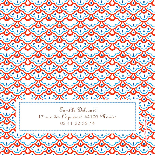 Carte d'anniversaire Pattern fantaisie blanc, bleu & rouge - Page 4