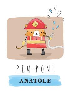 Affiche Pompier rouge