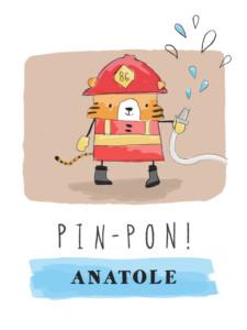 Affichette Pompier rouge