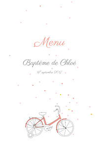 Menu de baptême orange à bicyclette corail