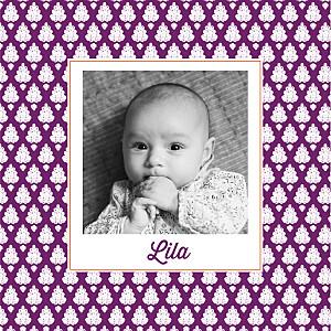 Faire-part de naissance orientale batik (2 photos) violet