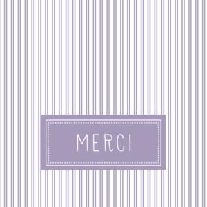 Carte de remerciement Merci petites rayures lilas