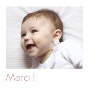 Carte de remerciement Merci simple photo blanc