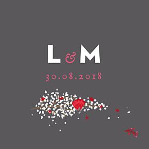 Etiquette de mariage gris couronne de fleurs gris & rose