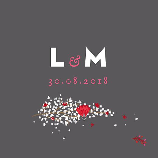 Etiquette de mariage Couronne de fleurs gris & rose