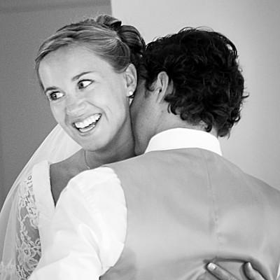 Carte de remerciement mariage Couronne de fleurs gris & rose finition