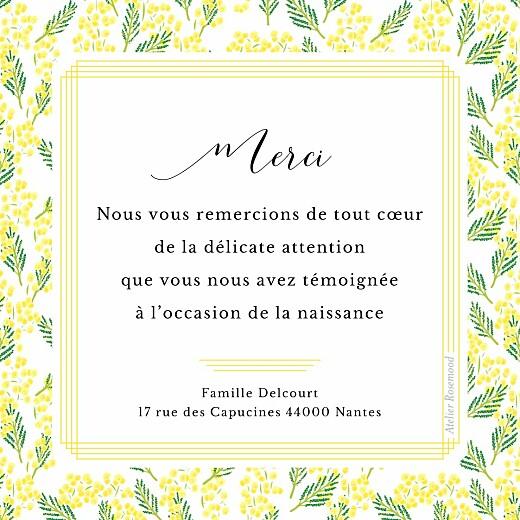 Carte de remerciement Petit mimosa photo jaune