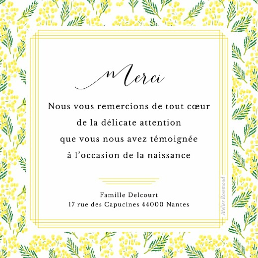 Carte de remerciement Petit mimosa photo jaune - Page 2
