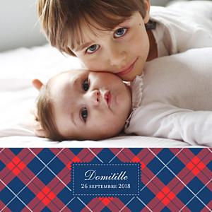 Faire-part de naissance clémence gantois écossais photo bleu & rouge