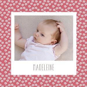 Faire-part de naissance Prairie photo vieux rose