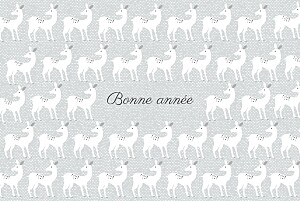 Carte de voeux orange biche de noël gris