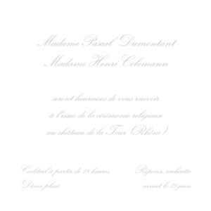Carton d'invitation mariage Grand traditionnel blanc