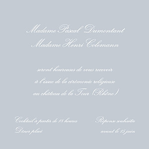 Carton d'invitation mariage Grand traditionnel gris