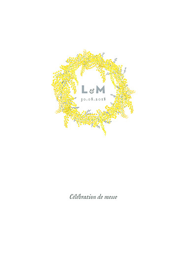 Livret de messe mariage Mimosa jaune