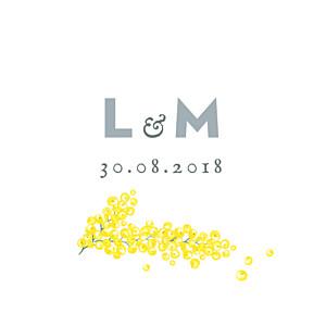 Etiquette de mariage classique mimosa jaune