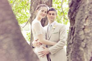 Carte de remerciement mariage Graphique paysage orange et turquoise