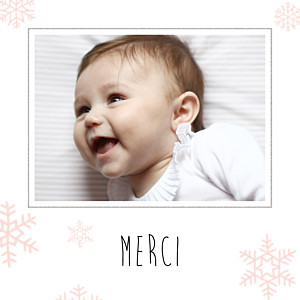 Carte de remerciement Merci flocons photo rose clair
