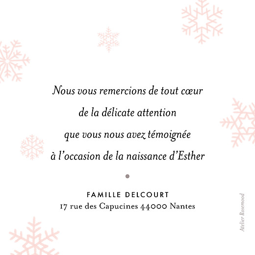 Carte de remerciement Merci flocons photo rose clair - Page 2