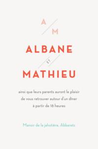 Carton d'invitation mariage Graphique orange et turquoise
