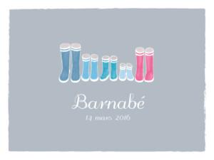 Affiche Balade (3 enfants) gris & bleu