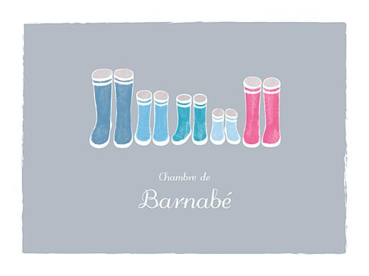 Affichette Balade (3 enfants) gris & bleu