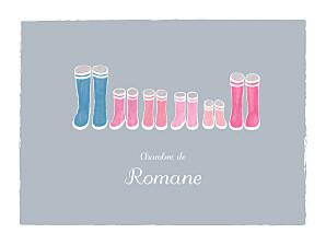 Affichette famille balade (4 enfants) gris & rose