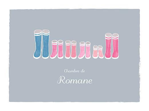 Affichette Balade (4 enfants) gris & rose