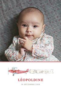 Faire-part de naissance Avion 3 photos (version fille) rouge