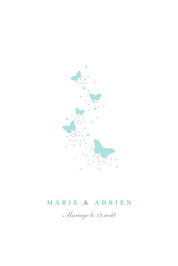 Faire-part de mariage Papillons portrait blanc et bleu