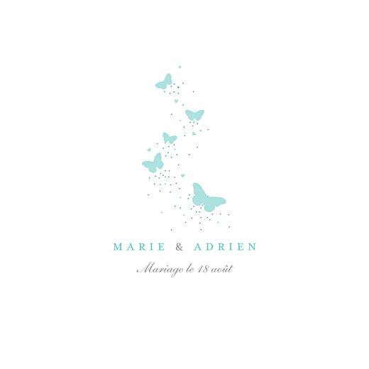 Faire-part de mariage Papillons (carré) blanc et bleu