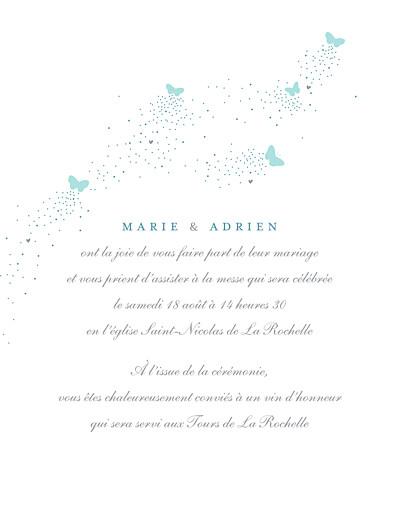 Faire-part de mariage Papillons (grand format) bleu & blanc - Page 3